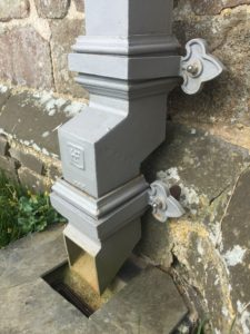 Conservation Rainwater Goods - Lapford Church Tower Downpipes Shoe and Rainwater Gulley